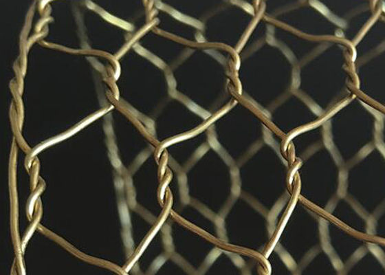 China Rugged Decorative Concertina Hexagonal Wire Mesh Cooper Brass Twist Anti Oxidation supplier