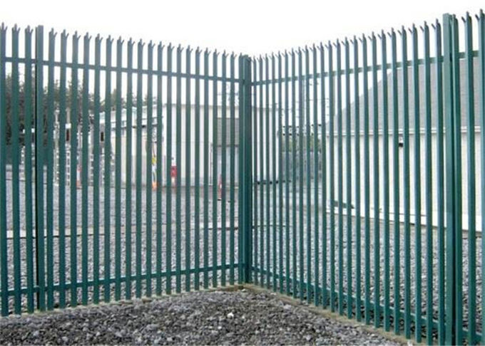Durable W Section Green Palisade Fencing , Single Point Road Security Fence